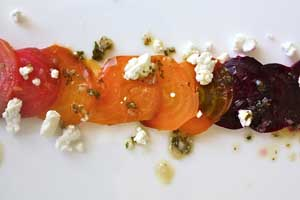 Beet Carpaccio with Goat Cheese and Mint Vinaigrette