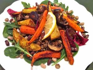 Indian Roasted Vegetables over Lentils