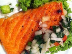 Salmon with Scallion Salsa