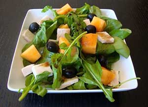Arugula Melon and Turkey Salad