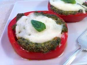 Baked Tomatoes with Mozzarella and Pesto