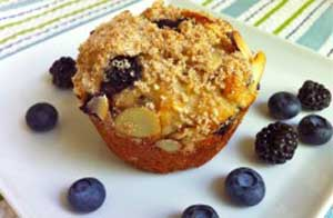 Peach and Blueberry and Yogurt Muffins