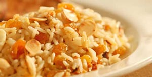 Rice with Sultanas and Almonds (Arroz Pulau)