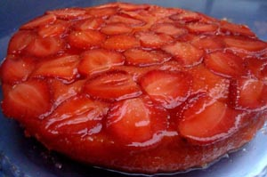 Upside Down Strawberry Riesling Cake